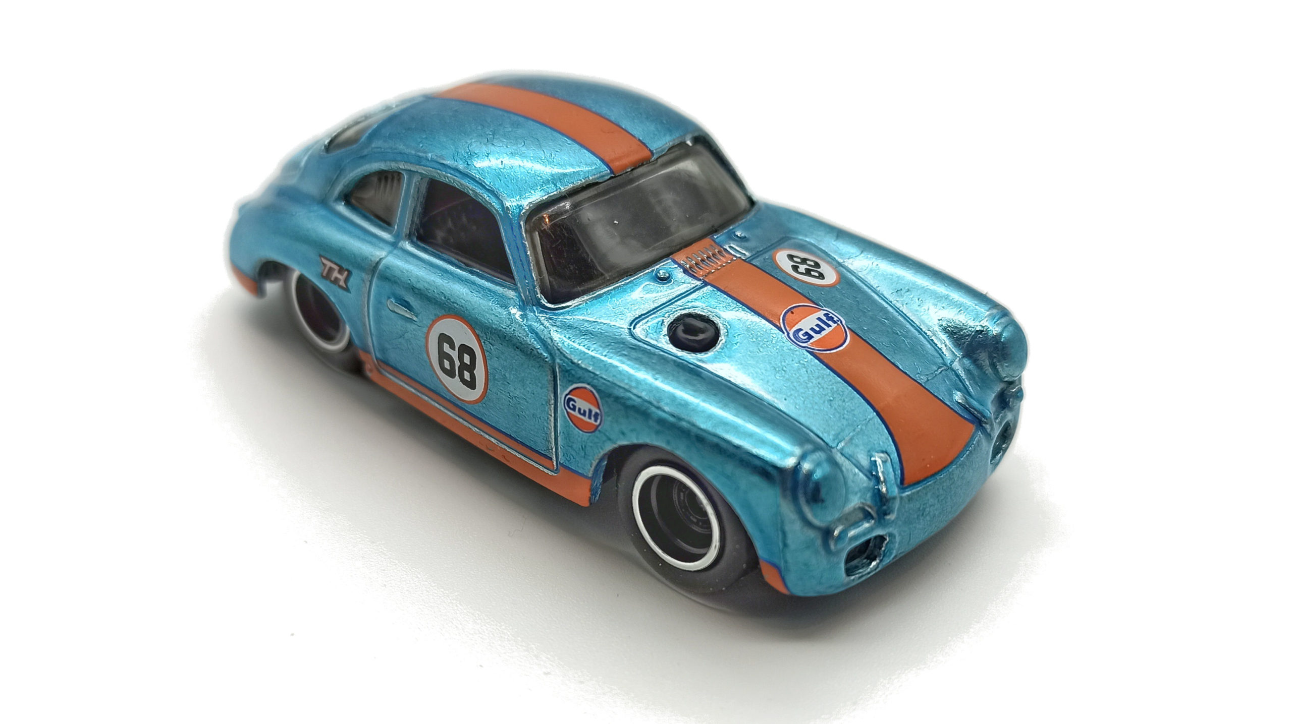 Hot Wheels Porsche 356 Outlaw (GTD08) 2021 (171/250) HW Speed Graphics (7/10) spectraflame light blue (Gulf) Super Treasure Hunt (STH) top angle