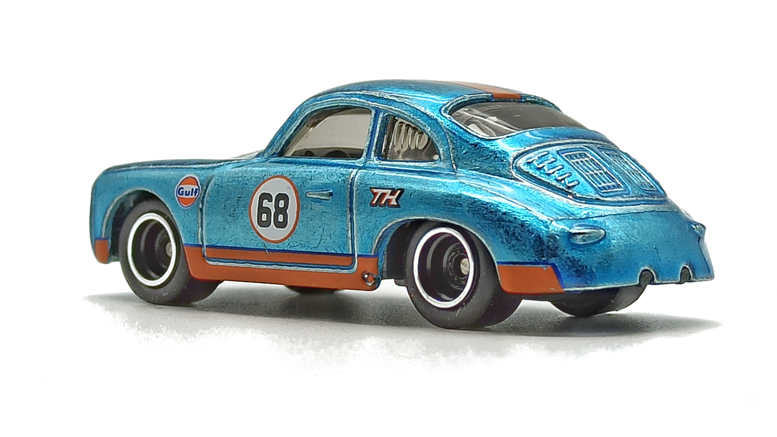 Hot Wheels Porsche 356 Outlaw (GTD08) 2021 (171/250) HW Speed Graphics (7/10) spectraflame light blue (Gulf) Super Treasure Hunt (STH) side angle