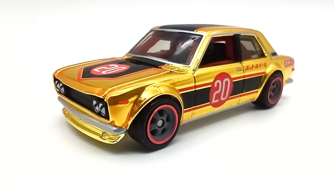Hot Wheels Datsun Bluebird 510 (DTH32) 2020 RLC Exclusive (1 of 15.000) spectraflame bright yellow gold side angle