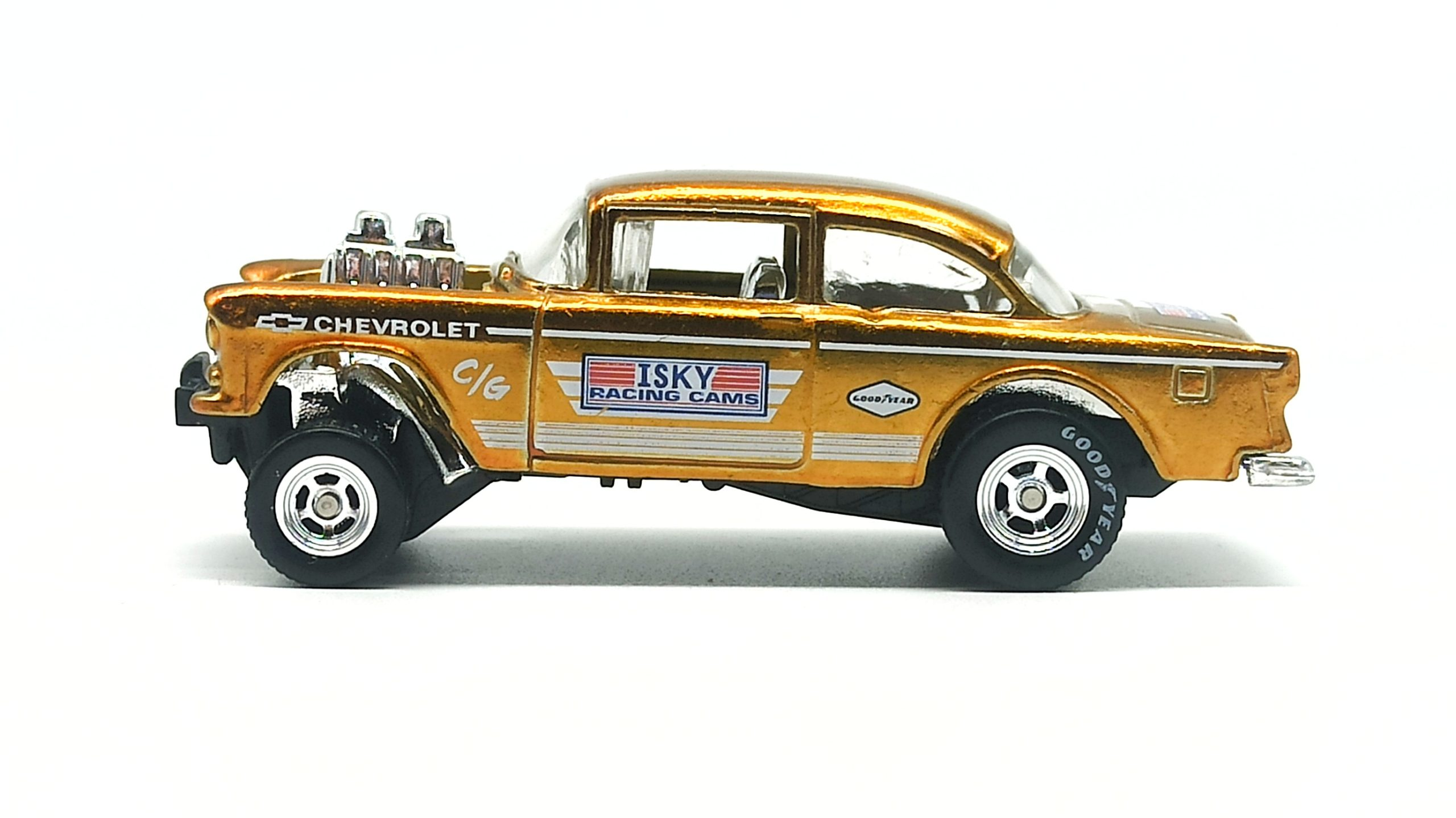 Hot Wheels '55 Chevy Bel Air Gasser 2020 Legends Tour Exclusive spectraflame yellow (gold) side
