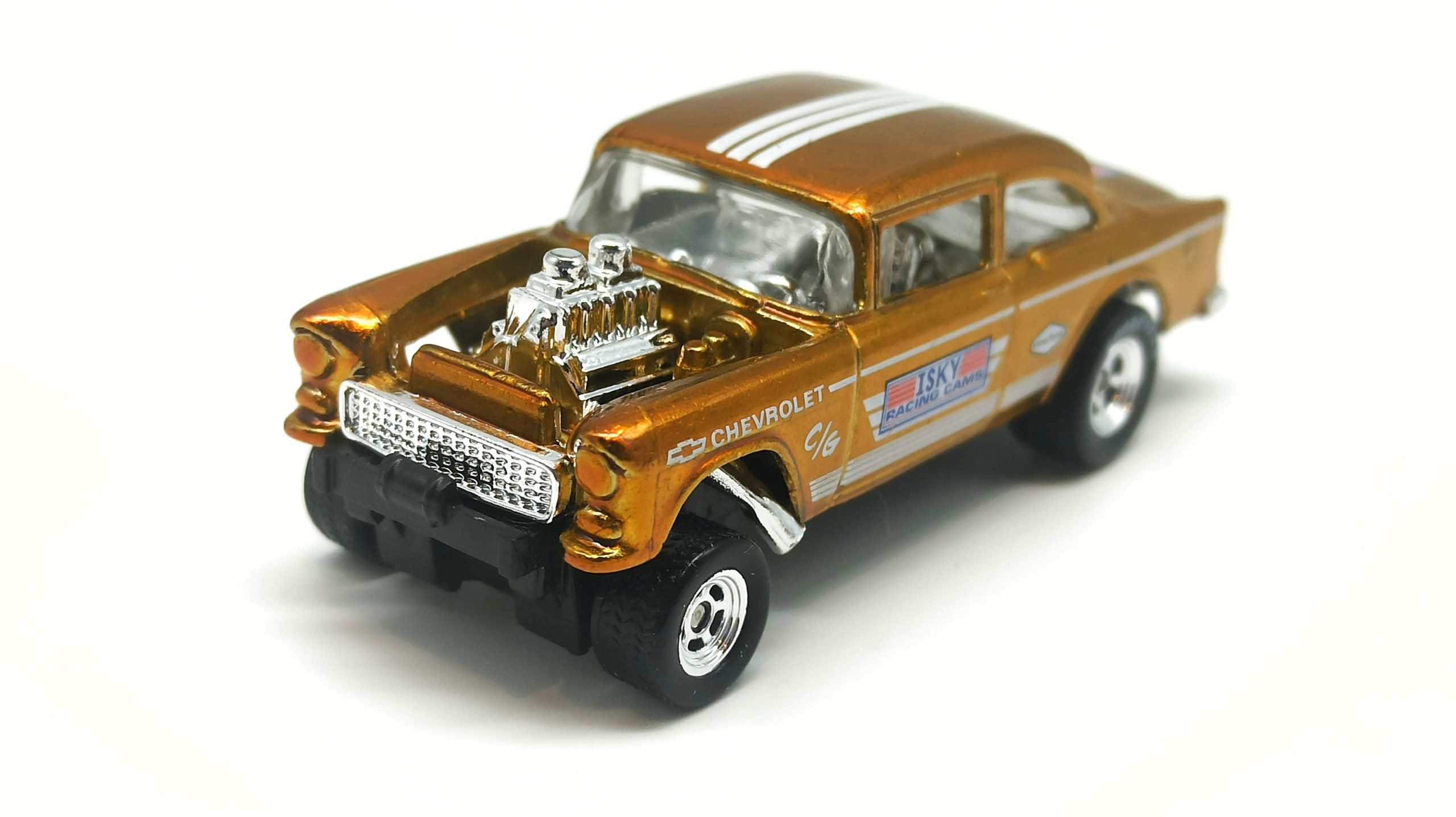 Hot Wheels '55 Chevy Bel Air Gasser 2020 Legends Tour Exclusive spectraflame yellow (gold) top angle