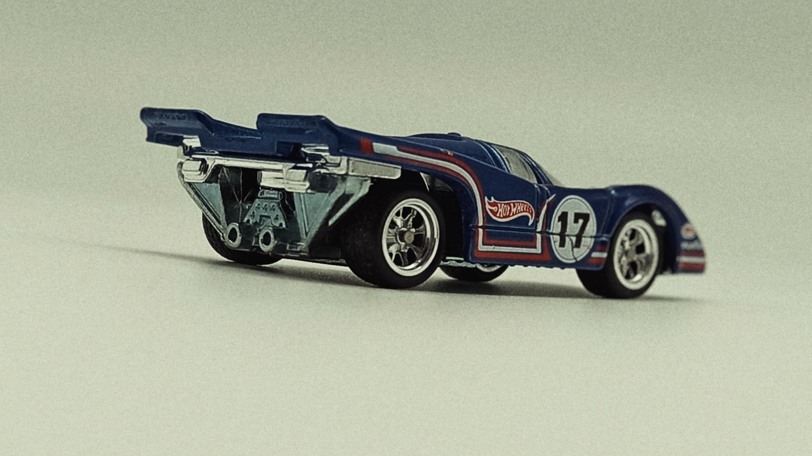 Hot Wheels Porsche 917K (Re-Tooled Version) (CFN62) 2015 Heritage (18/18) metalflake blue side angle