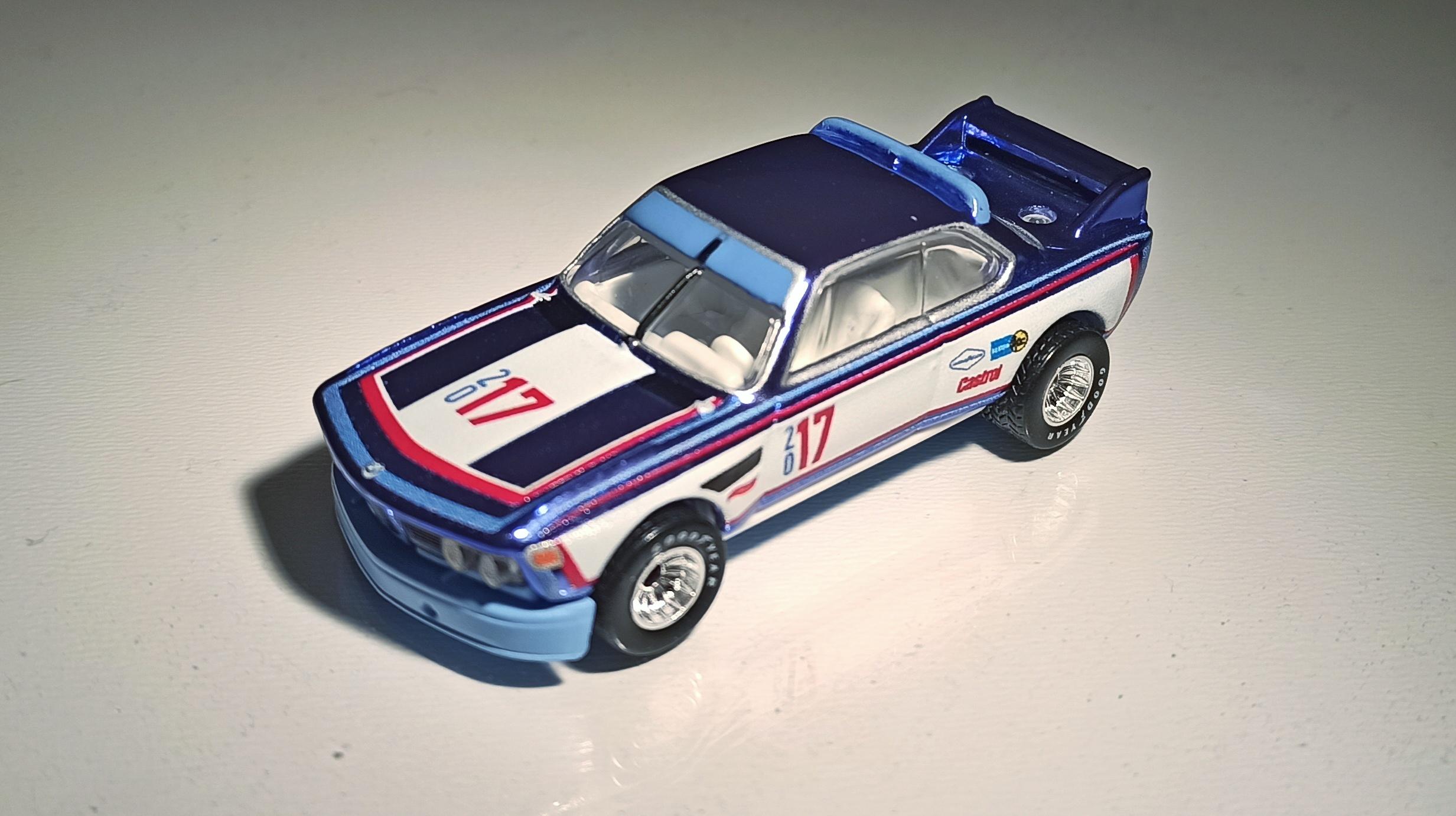 Hot Wheels '73 BMW 3.0 CSL Race Car 2016 Toy Fair spectraflame blue top angle