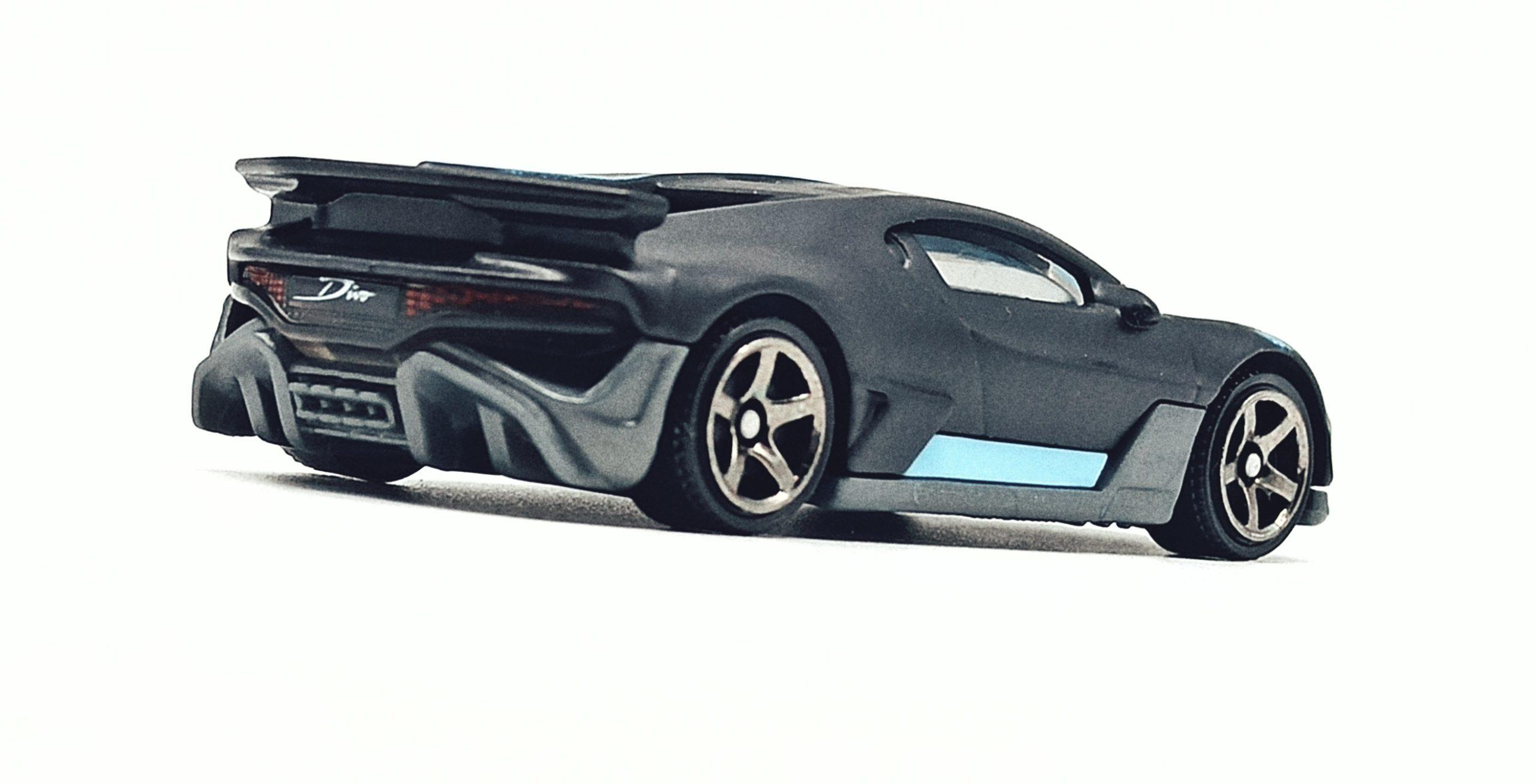 Matchbox 2018 Bugatti Divo (MB39) 2021 MBX Showroom matte black back angle