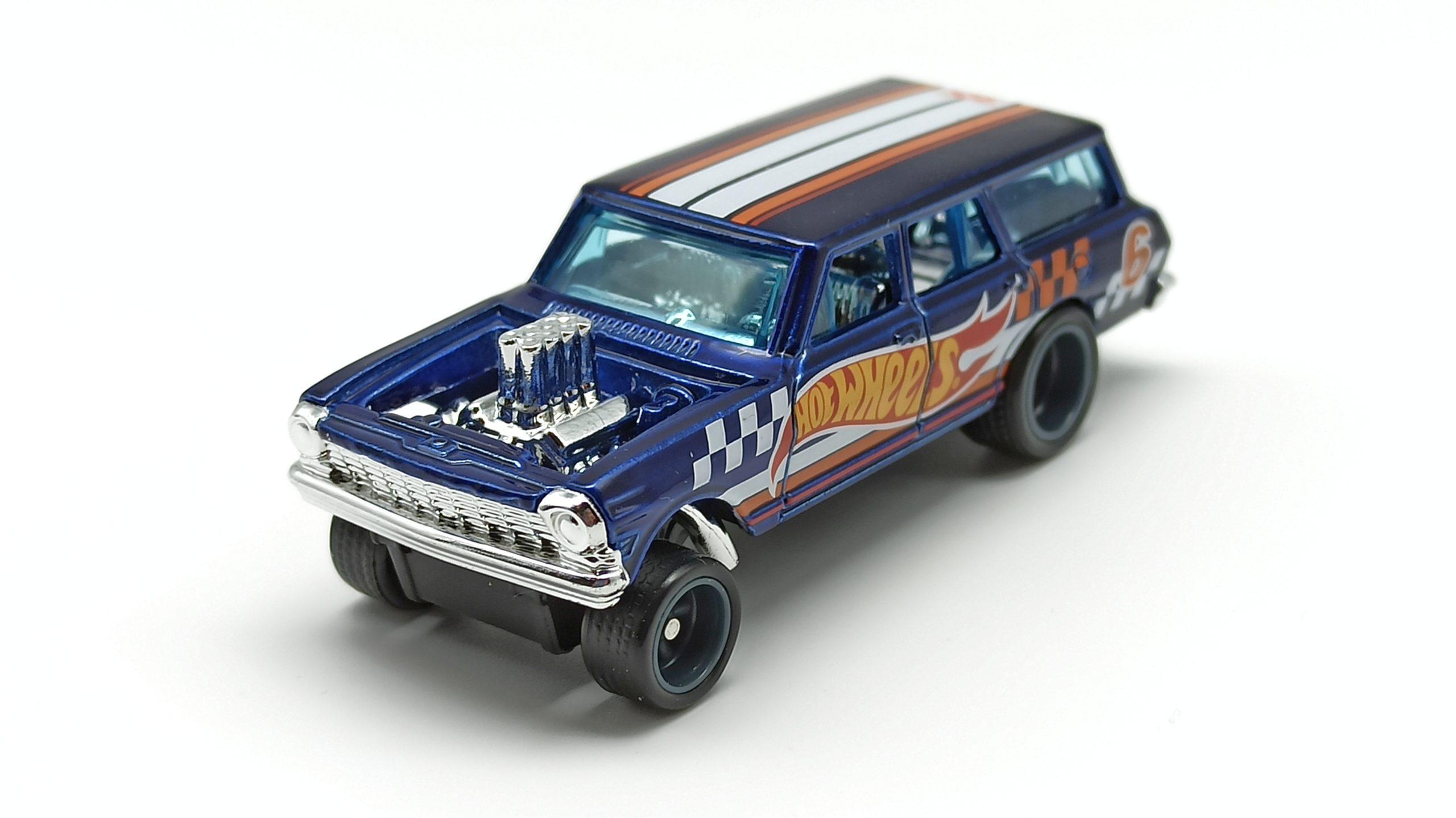 Hot Wheels '64 Chevy Nova Wagon Gasser (GTD06) 2021 (232/250) HW Race Team (7/10) spectraflame blue Super Treasure Hunt (STH) top angle