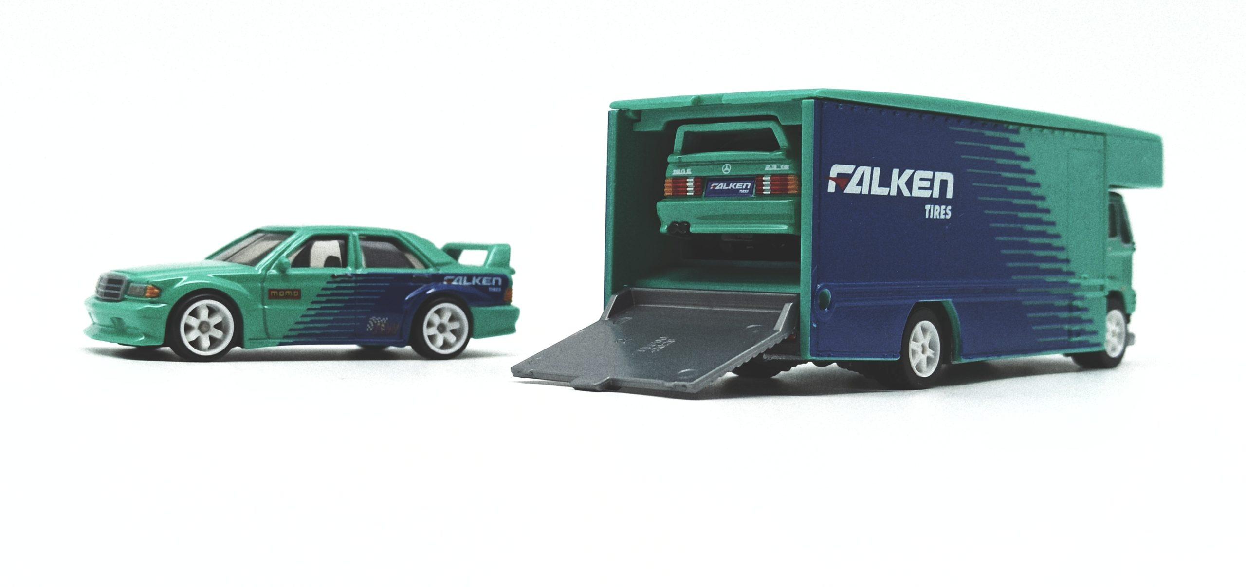 Hot Wheels Fleet Flyer + Mercedes Benz 190E (FYT08) 2019 Car Culture Team Transport 10 (Mix 1) green and blue (Falken) Wheel Variation