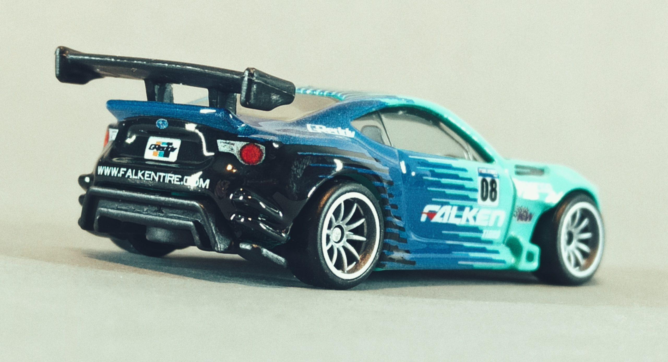 Hot Wheels Pandem Subaru BRZ 2021 Car Culture: Slide Street green and blue (Falken) side angle