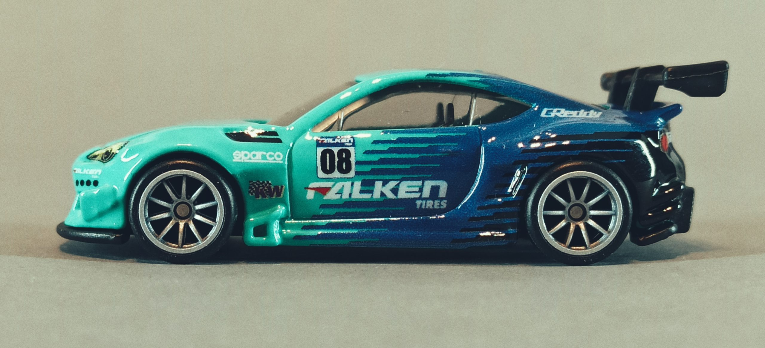 Hot Wheels Pandem Subaru BRZ 2021 Car Culture: Slide Street green and blue (Falken) side