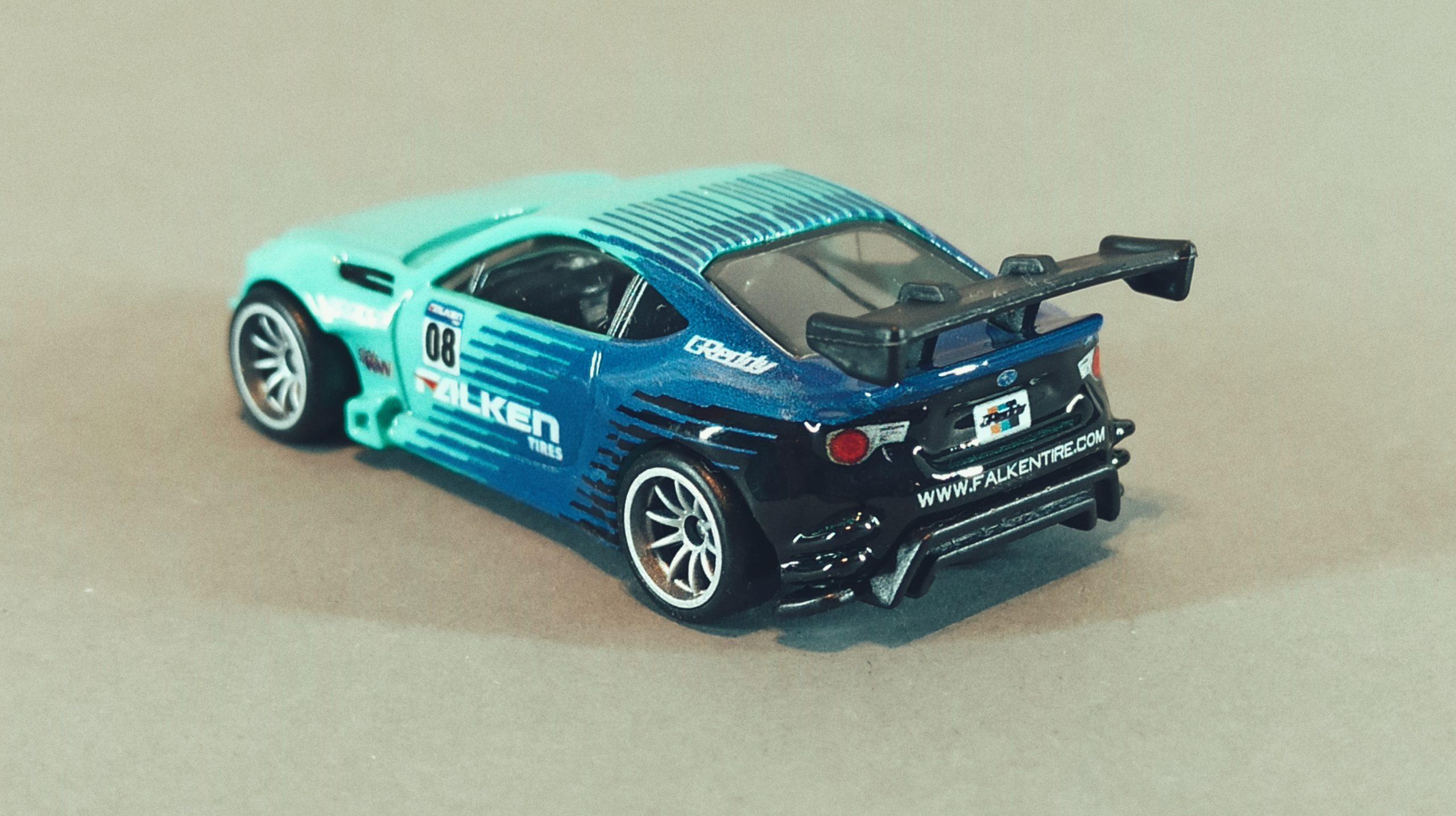 Hot Wheels Pandem Subaru BRZ 2021 Car Culture: Slide Street green and blue (Falken) top angle