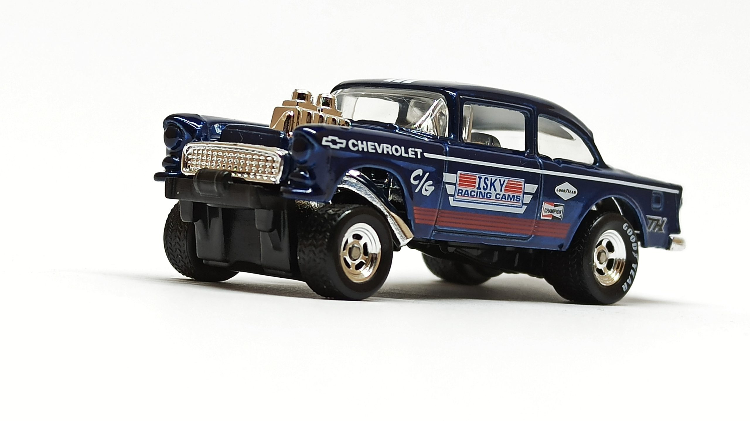 Hot Wheels '55 Chevy Bel Air Gasser (BFF38) 2014 (241/250) HW Workshop: HW Performance spectraflame dark blue Super Treasure Hunt (STH) side angle