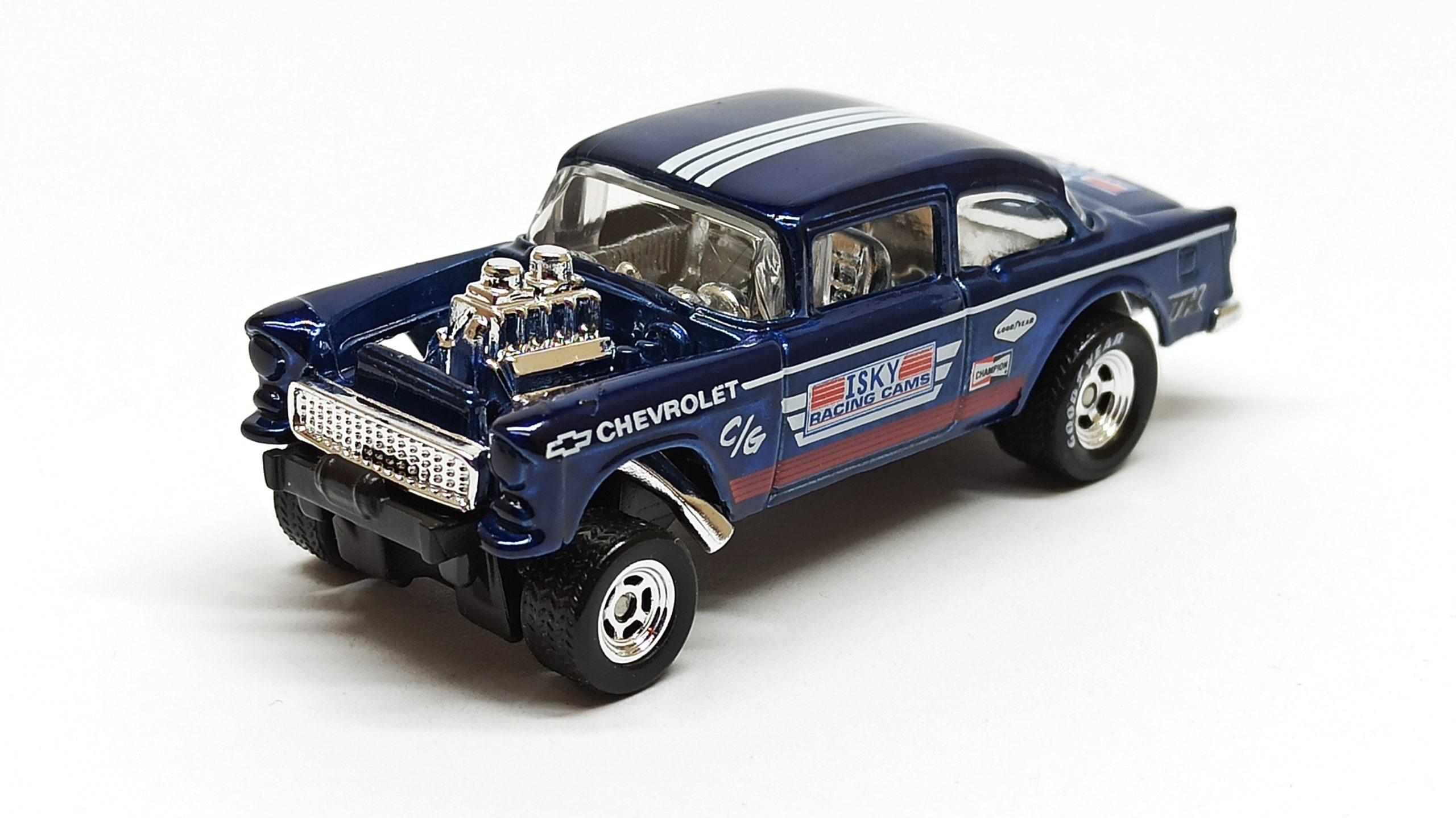 Hot Wheels '55 Chevy Bel Air Gasser (BFF38) 2014 (241/250) HW Workshop: HW Performance spectraflame dark blue Super Treasure Hunt (STH) top angle