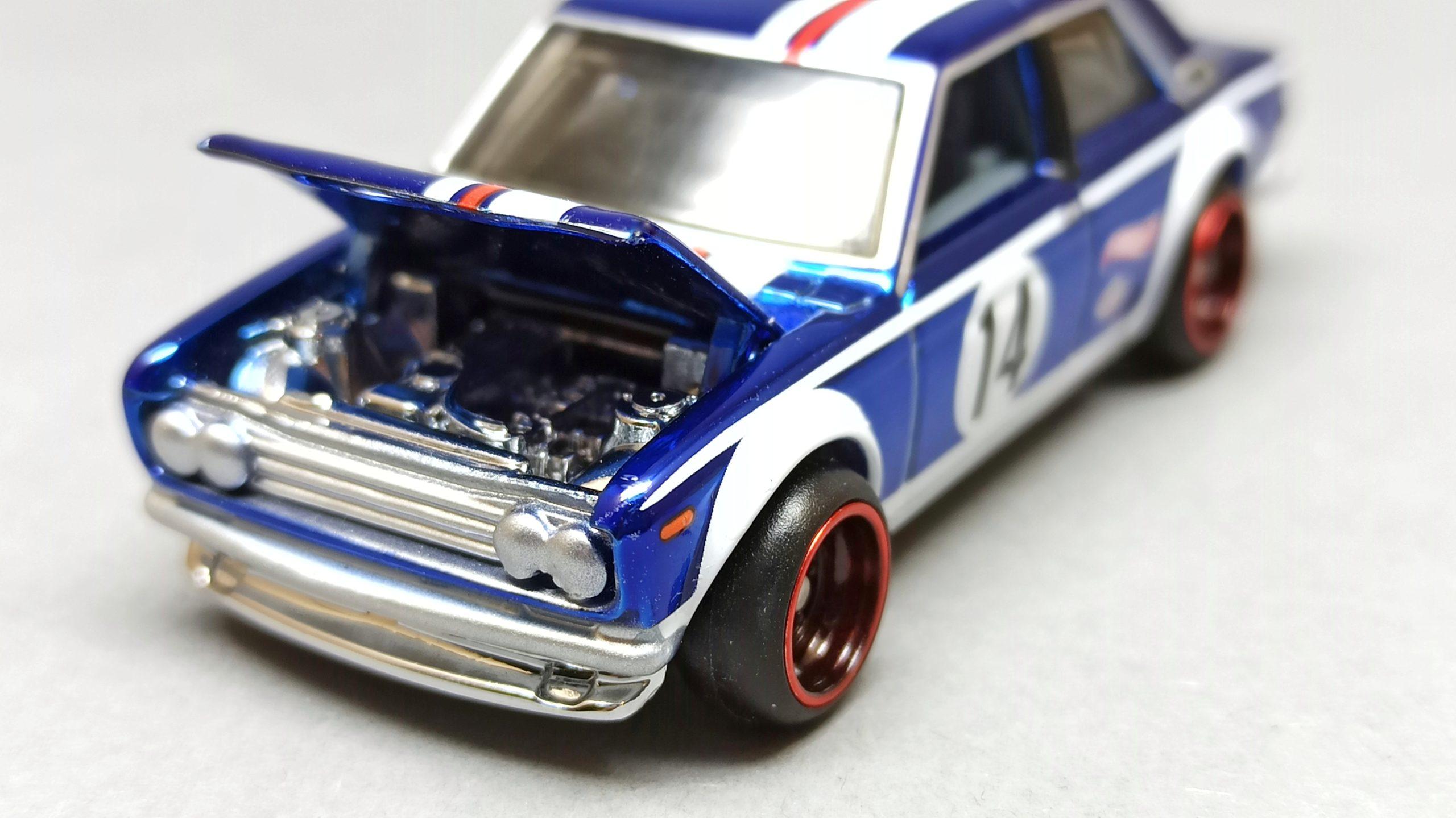 Hot Wheels Datsun Bluebird 510 (DTH31) 2016 RLC HWC Series 14 Real Riders (3/4) (1 of 7.000) spectraflame blue top angle open hood