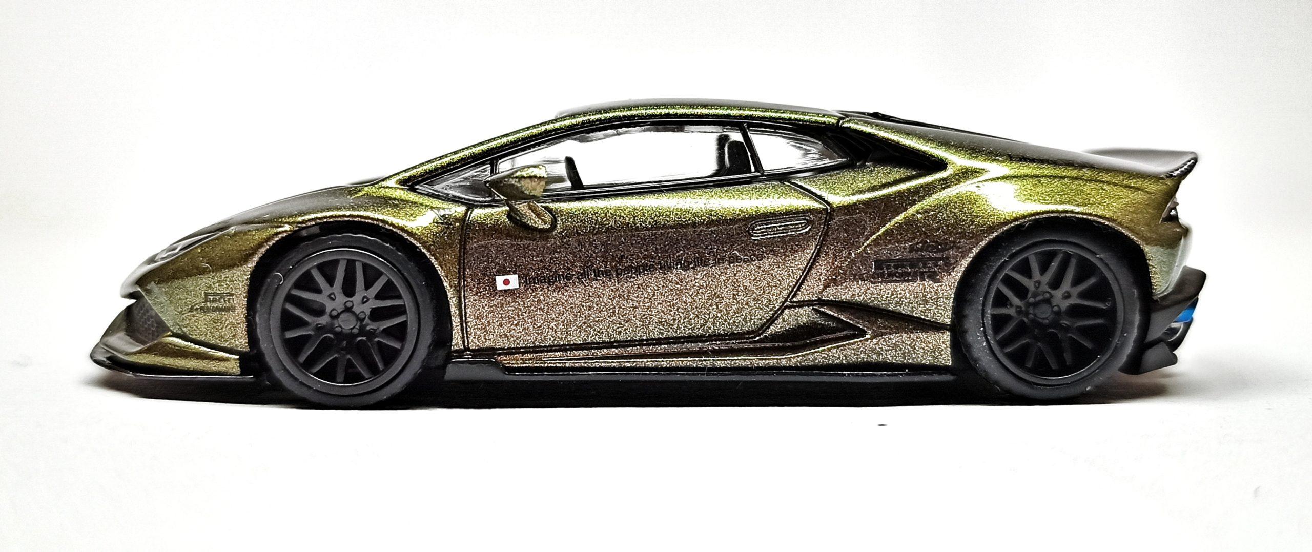 Mini GT Lamborghini Huracán (MGT00190) 2019 Liberty Walk LB★WORKS Version 2 green bronze side
